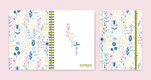 Cover design for notebooks or scrapbooks with wax crayon drawing Royalty Free Stock Photos