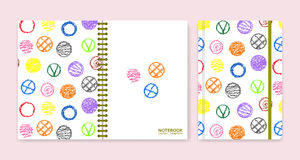 Cover design for notebooks or scrapbooks with wax crayon drawing Royalty Free Stock Photo