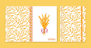 Cover design for notebooks or scrapbooks with wheat Stock Image