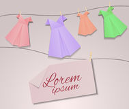 Cover design with origami women's dresses Royalty Free Stock Photography