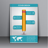 Cover design with a pencil and a map Stock Images