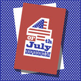 Cover design. The phrases 4th of July,Independence Day on the red rectangle on the blue pattern Royalty Free Stock Image