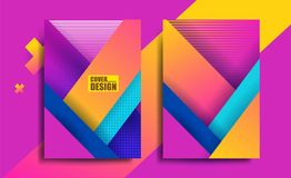 Cover design pink. Geometric flyer for business brochure vector design, Leaflet advertising abstract background, Annual report for presentation. Magazine layout Stock Image