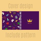 Cover design with princess pattern. Cover design for print with princess patter. Vector illustration Royalty Free Stock Images