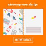 Cover design for print with pharma and pills,  illustratio. N notebook background. healthcare template Stock Images