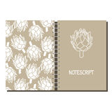 Cover design for print with stylized artichoke pattern. Stock Images