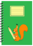 A5 cover design school notebook with squirrel and pencil. Cover design with squirrel holding pencil for tutorial cover, notebook, sketchbook, album, copybook Stock Photography