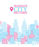 Cover Design or Seamless Pattern with Endless City. Royalty Free Stock Photo