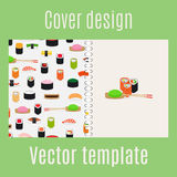 Cover design with sushi pattern stock illustration