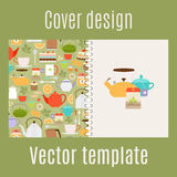 Cover design with teapots pattern. Cover design for print with teapots and cups pattern. Vector illustration Stock Image