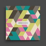 Cover design template. 3d blocks structure background. Vector illustration for design Stock Photos