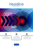 Cover design template with radio wave circles and technology nex Stock Image