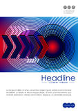 Cover design template with radio wave circles and technology nex Stock Photography