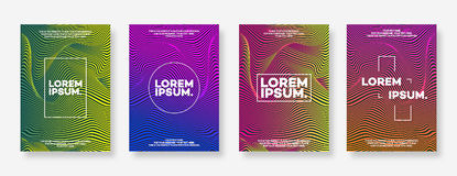 Cover design template set with gradient minimal style for decora Stock Photography