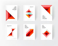 Cover design templates. Minimalistic design, creative concept, modern diagonal abstract background Geometric element. Blue,yellow and red diagonal lines & stock image