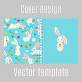 Cover design with white rabbits pattern Stock Image