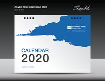 Cover Desk Calendar 2020 Design, flyer template, ads, booklet, catalog, newsletter, book cover, annual report cover. Blue background design stock illustration