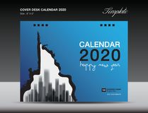 Cover Desk Calendar 2020 Design, flyer template, ads, booklet, catalog, newsletter, book cover, annual report cover. Blue background design royalty free illustration