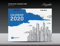 Cover Desk Calendar 2020 Design, flyer template, ads, booklet, catalog, newsletter, book cover, annual report cover. Blue background design vector illustration