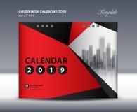 Cover Desk Calendar 2019 Design, flyer template, ads, booklet, catalog, newsletter, book cover. Black and red background design royalty free illustration