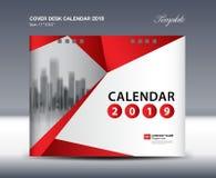 Cover Desk Calendar 2019 Design, flyer template, ads, booklet, catalog, newsletter, book cover. Red background design stock illustration