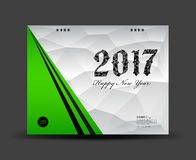 Cover Desk Calendar 2017, happy new year 2017, book cover. Template, green and white cover template, polygon background vector illustration