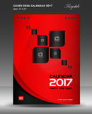 Cover Desk calendar 2017 year, Red cover design. Corporate business flyer design,Size 6x8 inch vertical Stock Photos