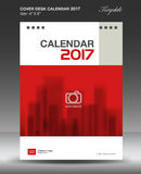 Cover Desk calendar 2017 year, Red cover design Size 6x8 inch. Vertical Stock Photography