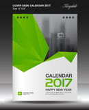 Cover Desk calendar 2017 year Size 6x8 inch vertical. Business flyer vecter, Green background Royalty Free Stock Photos