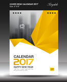 Cover Desk calendar 2017 year Size 6x8 inch vertical. Business flyer vecter, yellow background Stock Images