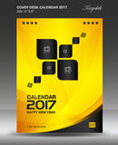 Cover Desk calendar 2017 year, yellow cover design. Corporate business flyer design,Size 6x8 inch vertical Stock Image