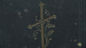 The cover detail of the bible stock video