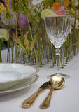 Cover. Dinner set up with fresh flowers Royalty Free Stock Image