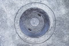 Cover drains made of steel in thailand. Manhole cover of sanitary sewer drainage pipe under footpath Stock Photography