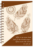 Cover feathers boho design of the notebook Stock Photo