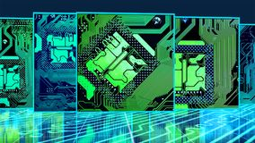 Cover flow circuit boards. Cover flow with circuit boards Royalty Free Stock Photos