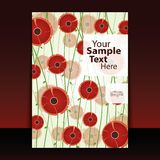 Cover or Flyer Design. With red flowers Royalty Free Stock Photography