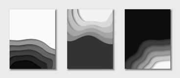 Cover or flyer template with abstract paper black and white background. Vector template in carving art style. Cover or flyer template with 3d abstract paper cut vector illustration