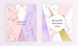 Cover geometric design with marble and foil texture, gold glitter lines, pink, purple colors background. Trendy template for desig stock illustration