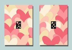 Cover with graphic elements - hearts. stock illustration