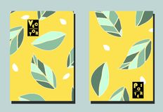 Cover with graphic leaves and seeds on yellow backdrop. Two floral vector templates of flyers. A4 format. Art can be used for placard, flyer, banner royalty free illustration