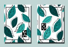 Cover with graphic turquoise leaves on white backdrop. Two floral vector templates of flyers. Cover with graphic turquoise leaves  on white backdrop. Two floral stock illustration