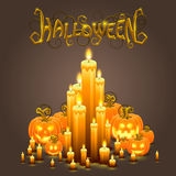 Cover Halloween pumpkin and candles Stock Photos