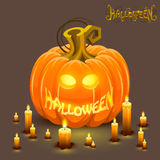 Cover halloween pumpkin with a face Royalty Free Stock Image