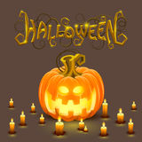 Cover halloween pumpkin with a face Royalty Free Stock Images