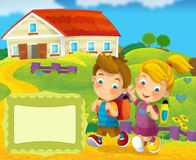 Cover illustration - good for cover or diploma - illustration for the children Stock Images