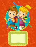 Cover illustration - good for cover or diploma - illustration for the children Stock Photography