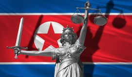 Cover about Law. Statue of god of justice Themis with Flag of North Korea background. Original Statue of Justice. Femida, with sca. Le, symbol of justice with Royalty Free Stock Images
