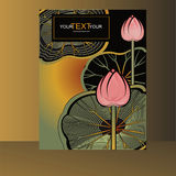 Cover with a lotus flowers and leaves Stock Photo
