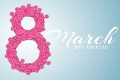 Cover for 8 March on blue background. Figure 8 of pink rose petals. luxurious brochure for Happy Womens Day. Calligraphic white te. Xt. Vector illustration. EPS Stock Images